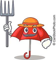 bonito, personagem, guarda-chuva, vermelho, agricultor