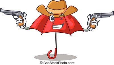 bonito, personagem, guarda-chuva, vermelho, boiadeiro