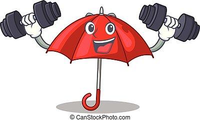 bonito, personagem, guarda-chuva, vermelho, condicão física