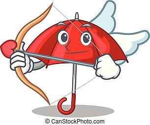 bonito, personagem, guarda-chuva, vermelho, cupid