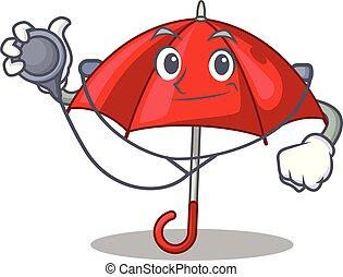 bonito, personagem, guarda-chuva, vermelho, doutor