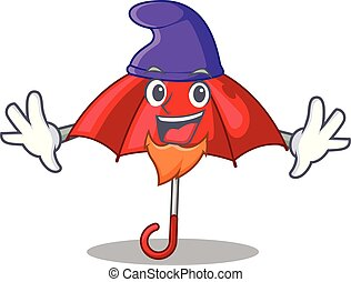 bonito, personagem, guarda-chuva, vermelho, duende