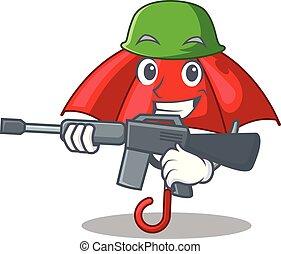 bonito, personagem, guarda-chuva, vermelho, exército