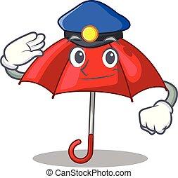 bonito, personagem, guarda-chuva, vermelho, polícia