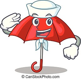bonito, personagem, marinheiro, guarda-chuva, vermelho