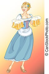 bonito, pino, menina, com, cerveja, assalta