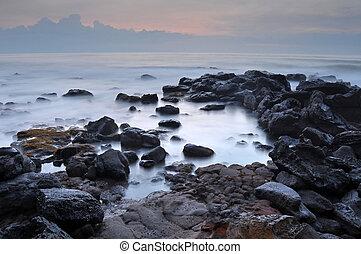 bonito, piscina maré, mar, pedras