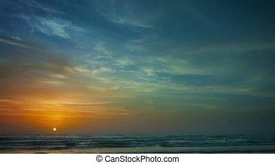 bonito, pitoresco, sobre, tropicais, taymlaps, pôr do sol, sea.