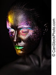 bonito, plástico, incomum, mulher, arte, coloridos, foto, maquilagem, máscara, rosto, luminoso, pretas, modelo, criativo