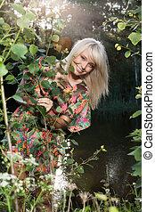 bonito, plantas, mulheres jovens