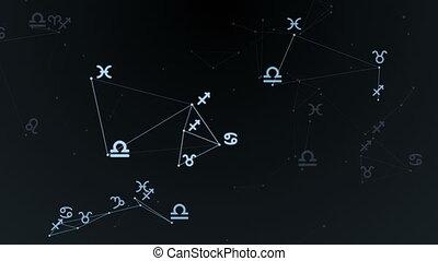 bonito, plexus, com, zodíaco assina, stars., grupo, de, estrelas, formando, um, constellation., volta, animation.