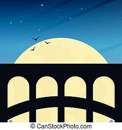 bonito, ponte, ao ar livre, paisagem., viagem, estrada ferro, concept.