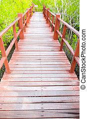 bonito, ponte,  natural, madeira, cena, passagem