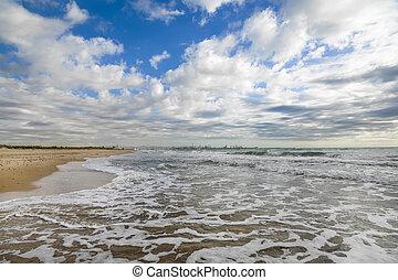 bonito, portugal, costa, atlântico, praia arenosa, pôr do sol, paisagem