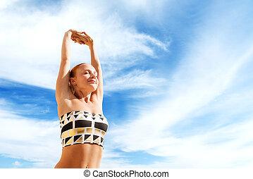 bonito, prática, mulher, ioga