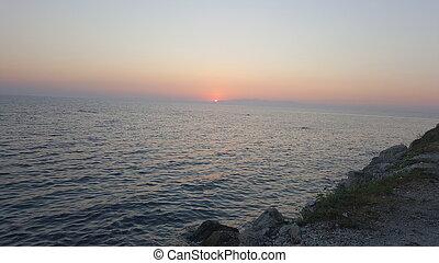 bonito, praia, amanhecer