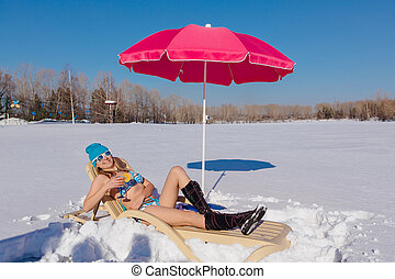 bonito, praia., inverno, relaxante, nevado, sunbed, menina