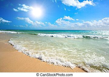 bonito, praia, mar