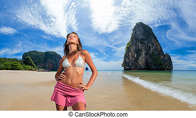 bonito, praia., mulher