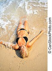 bonito, praia, mulher