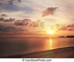 bonito, praia ocaso