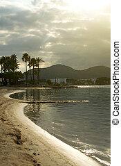 bonito, praia., pôr do sol