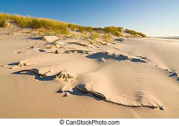 bonito, praia., polônia, mar, báltico, amanhecer