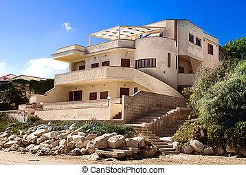 bonito, praia, propriedade, siciliano, coast.