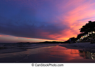 bonito, praia, sobre, pôr do sol, mar