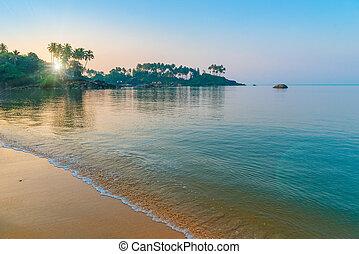 bonito, praia., sol, manhã, raios, tinted.