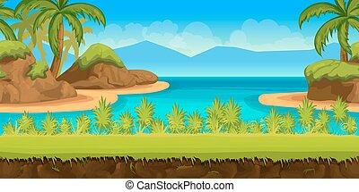 bonito, praia tropical, ilustração, de, um, caricatura, verão, oceânicos, fundo, com, coqueiros, stones.