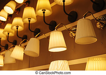 bonito, prateleiras, parede, lustre, included, loja