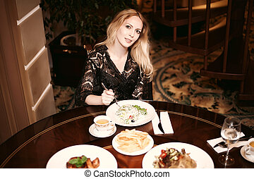 bonito, prato, comer mulher, room., jantar