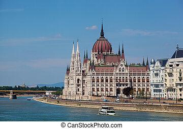 bonito, predios, parlamento, budapest, hungria
