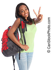 bonito, pretas, adolescente, menina escola, sinal vitória
