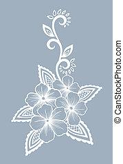 bonito, preto-e-branco, desenho, floral, flores, folhas, element.