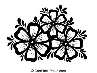 bonito, preto-e-branco, elemento, desenho, retro, floral, folhas, flores, style., element.