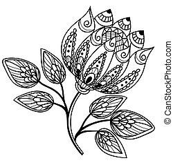 bonito, preto-e-branco, flor, desenho, mão