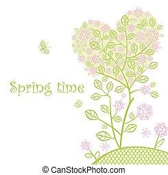 bonito, primavera, árvore, lacy