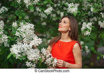 bonito, primavera, branca, mulher