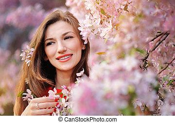 bonito, primavera, florescendo, mulher, jardim