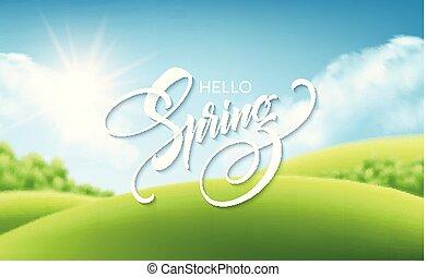 bonito, primavera, ilustração, experiência., vetorial, paisagem