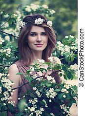 bonito, primavera, menina, flores