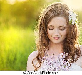 bonito, primavera, menina, flores, prado