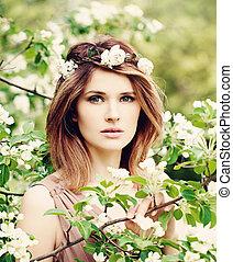 bonito, primavera, mulher, flor