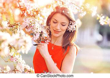bonito, primavera, mulher, flores
