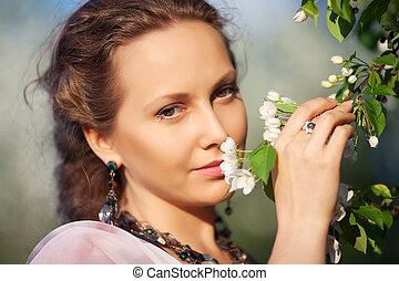 bonito, primavera, mulher, jardim