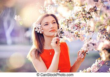 bonito, primavera, mulher, luxuriante, jardim