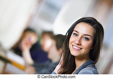 bonito, primeiro plano, estudantes, estudar, biblioteca, seu, estudante universitário, exames, sorrindo
