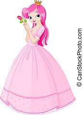bonito, princesa, com, rosa